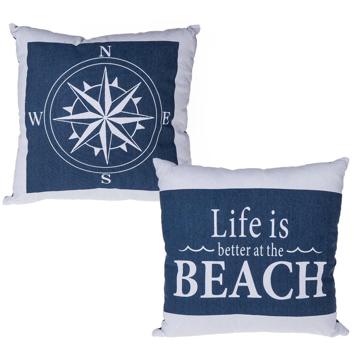 kissen maritim design kompass life is better at the beach. Black Bedroom Furniture Sets. Home Design Ideas