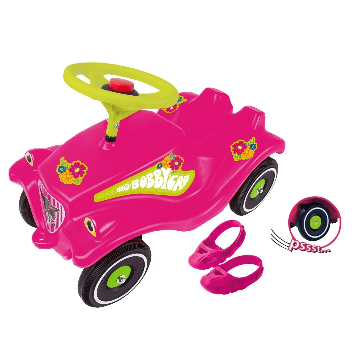 Bobby Car Pink Flower Edition + gratis Schuhschoner & Flüsterreifen ...