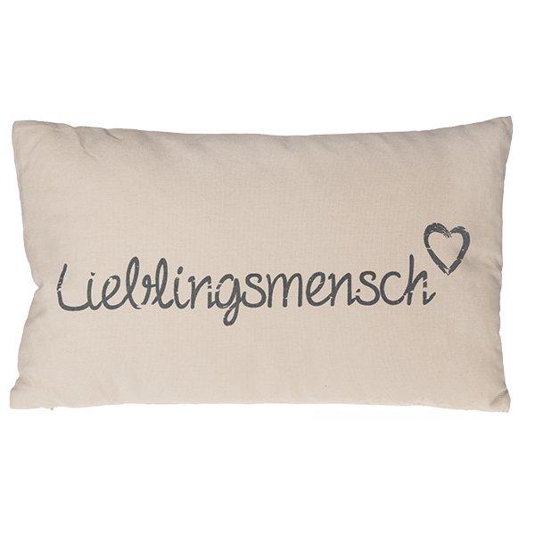deko kissen lieblingsmensch 50x30cm inkl f llung 100 baumw grau rosa b ebay. Black Bedroom Furniture Sets. Home Design Ideas