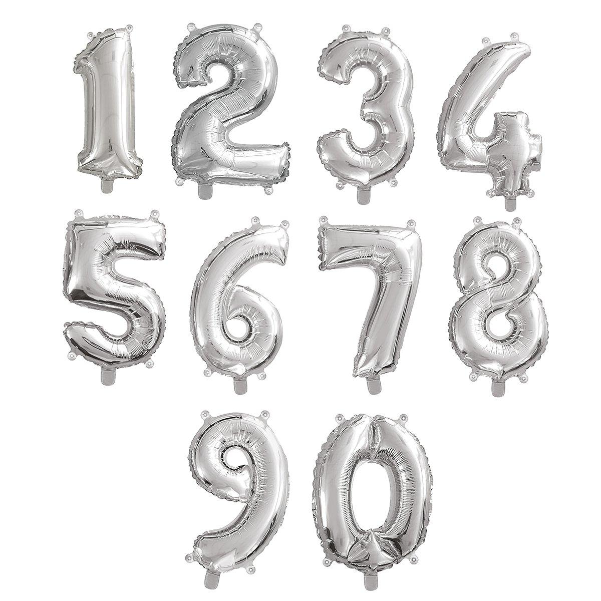 Runder Geburtstag Folienballon mit Zahl Folien Luftballon 43cm Geburtstagsdeko