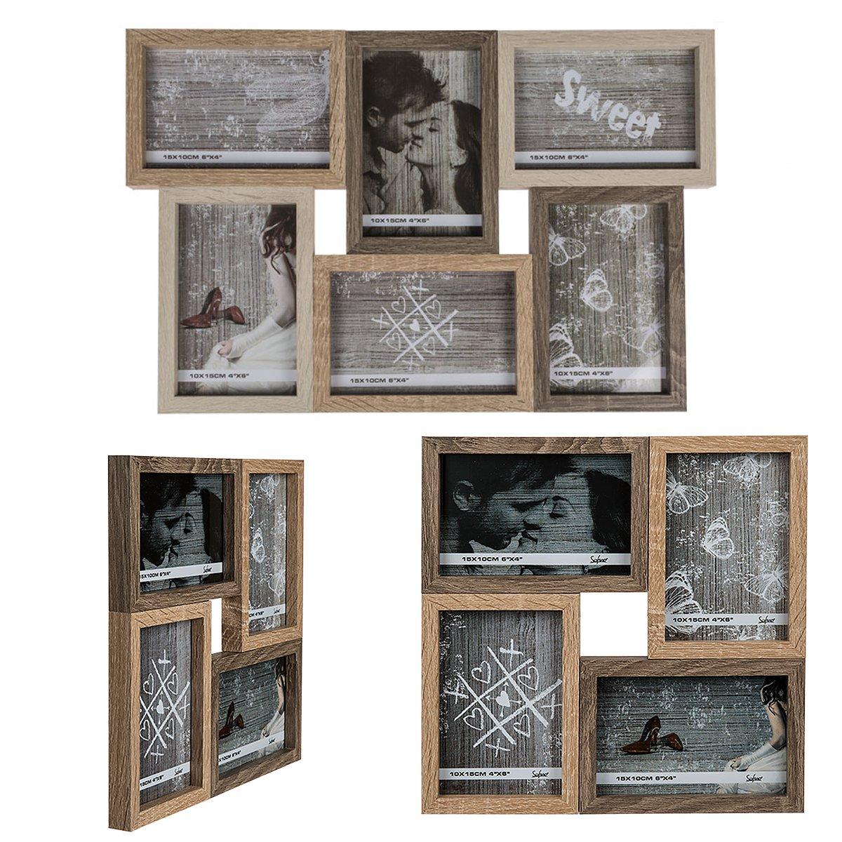 Bilderrahmen in Eiche Holzoptik für 4 oder 6 Fotos 10x15cm - Timmi ...