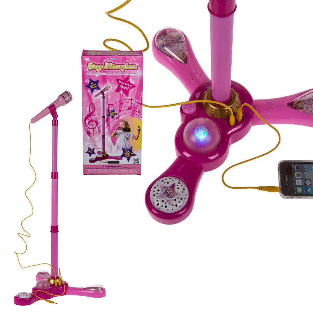 pinkes mikrofon mit st nder f r kinder aux anschluss. Black Bedroom Furniture Sets. Home Design Ideas
