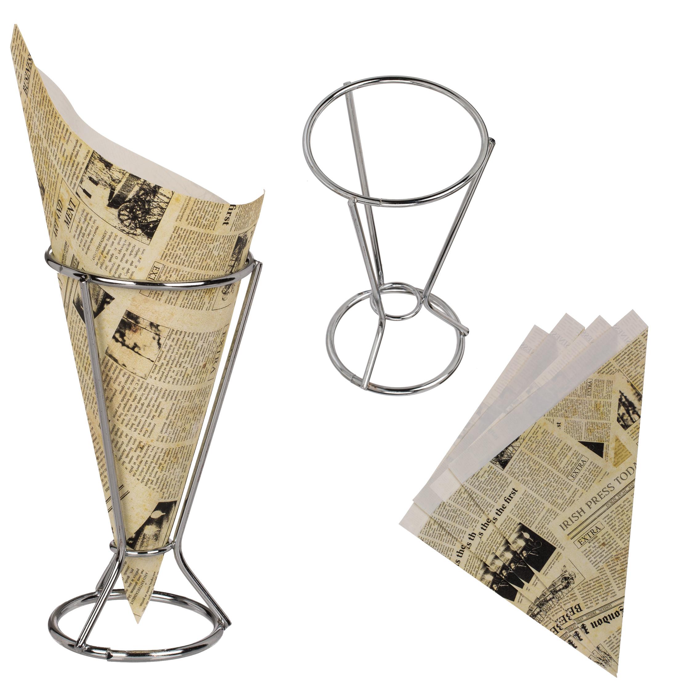 Metall-Tütenhalter für Pommes-Frites inklusive 5 Spitztüten im Zeitungsdesign